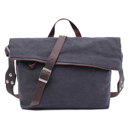 New Style Canvas Leather Messenger Bag Crossbody Sling Shoulder Bag School Bag 2053