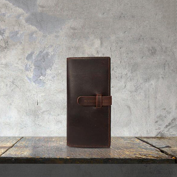 Crazy Horse Leather Long Wallet Men Card Holder Wallet Men Clutch YD1005 - ROCKCOWLEATHERSTUDIO