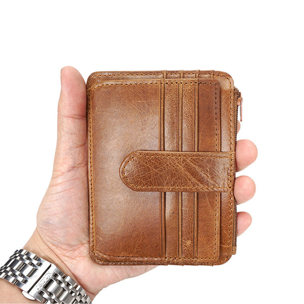 Men Short Wallet Full Grain Leather Small Wallet Retro Mini Card Wallet YD6611