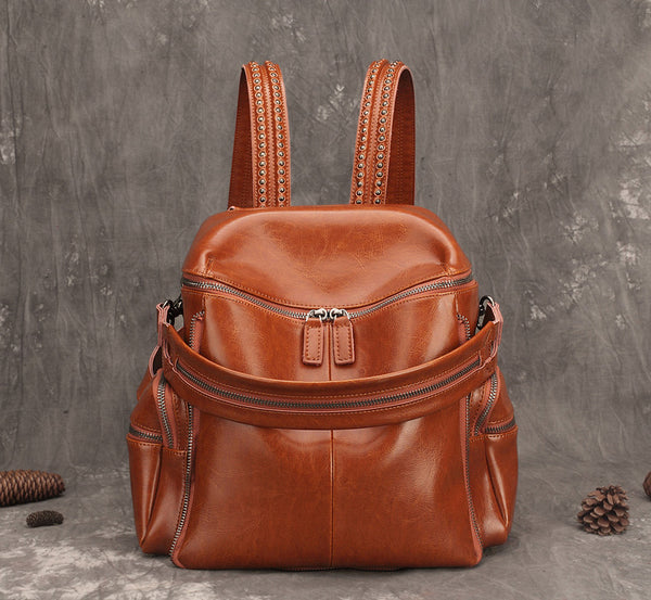 Vintage Handmade Leather College Backpack, Designer Women Handbags AK10 - ROCKCOWLEATHERSTUDIO