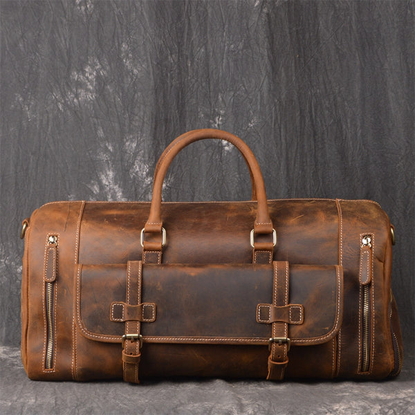 Handmade Full Grain Leather Luggage Bag, Vintage Weekend Bag, Travel Bag LJ1188 - ROCKCOWLEATHERSTUDIO