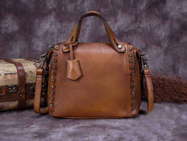 Full Grain Leather Handbags, Printed Satchel Bag F0002 - ROCKCOWLEATHERSTUDIO