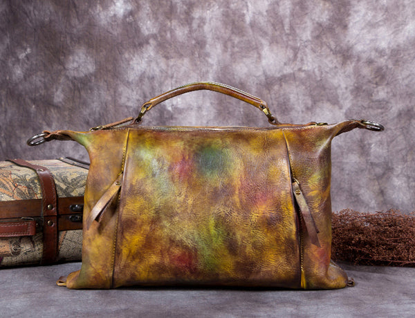 Full Grain Leather Satchel Bag, Laptop Shoulder Bag, Women Handbag A0191 - ROCKCOWLEATHERSTUDIO