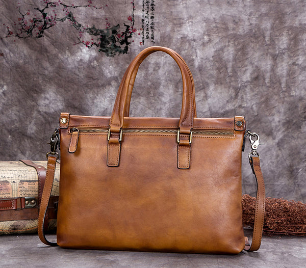 Handmade Full Gain Leather Women Handbags, Men's Laptop Bag, Handmade Leather Bag A0263 - ROCKCOWLEATHERSTUDIO