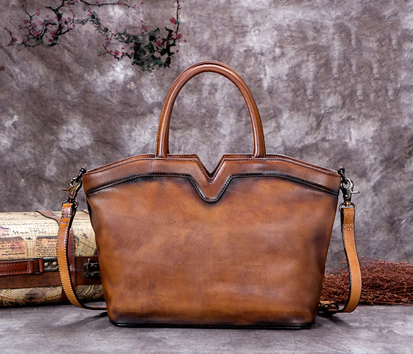 Handmade Vintage Full Grain Leather Satchel Messenger Bag, Women Handbag A0262 - ROCKCOWLEATHERSTUDIO