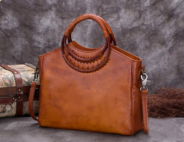 Full Grain Leather Satchel Bag, Laptop Shoulder Bag, Women Handbag A0277 - ROCKCOWLEATHERSTUDIO