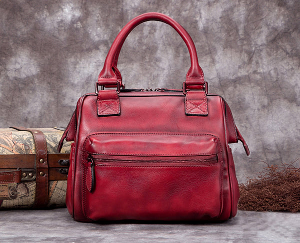 Fashion Full Grain Leather Messenger Shoulder Bags Satchel Bags Leather Tote A0292 - ROCKCOWLEATHERSTUDIO