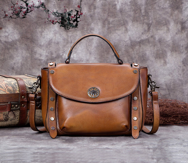 Full Grain Leather Satchel Bag, Laptop Shoulder Bag, Women Handbag A0283 - ROCKCOWLEATHERSTUDIO