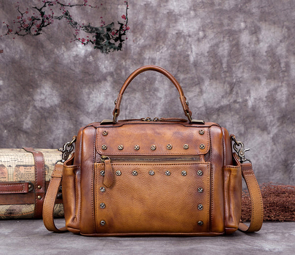 Full Grain Leather Satchel Bags, Laptop Shoulder Bag, Women Handbag A0255 - ROCKCOWLEATHERSTUDIO