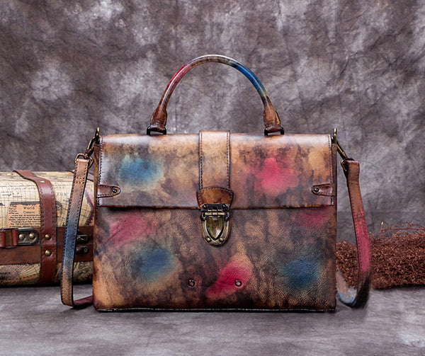 Vegetable Tanned Full Grain Leather Satchel Bag, Women Designer Handbag A0254 - ROCKCOWLEATHERSTUDIO