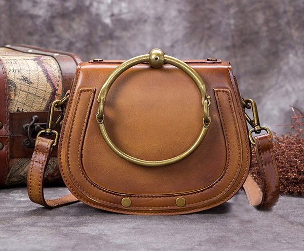 Full Grain Leather Satchel Bag, Laptop Shoulder Bags, Women Handbag A0250 - ROCKCOWLEATHERSTUDIO