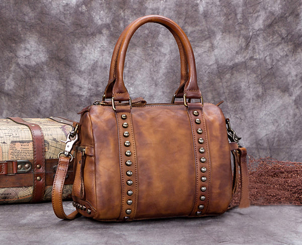 Vegetable Tanned Full Grain Leather Satchel Bag, Women Designer Handbag A0251 - ROCKCOWLEATHERSTUDIO