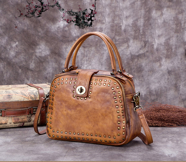 Full Grain Leather  Satchel, Handmade Shoulder Bags,Women Handbag A0232 - ROCKCOWLEATHERSTUDIO