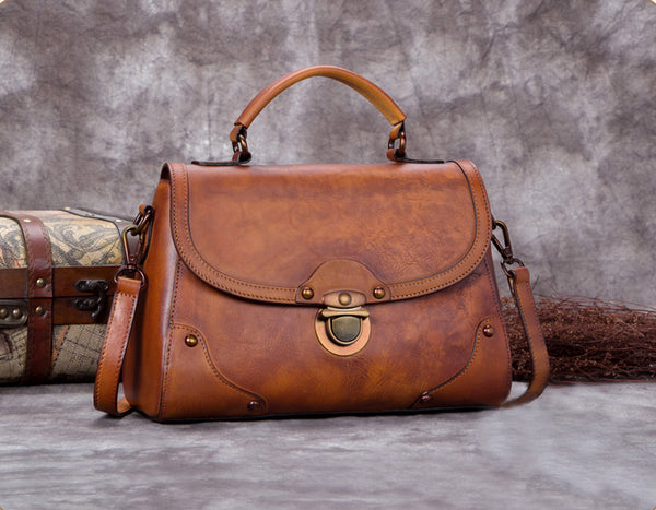 Full Grain Leather  Satchel, Handmade Shoulder Bags,Women Handbag A0285 - ROCKCOWLEATHERSTUDIO