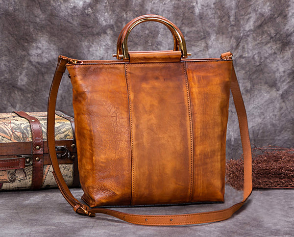 Handmade Full Grain Leather Tote Bags, Women Shoulder Bag, Designer Handbag A0275 - ROCKCOWLEATHERSTUDIO