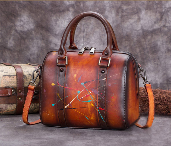 Full Grain Leather Satchel Bag, Laptop Shoulder Bag, Women Handbag A0241 - ROCKCOWLEATHERSTUDIO