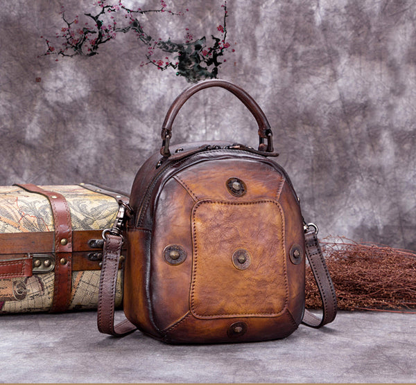 Full Grain Leather Satchel Bags, Laptop Shoulder Bag, Women Handbag A0231 - ROCKCOWLEATHERSTUDIO