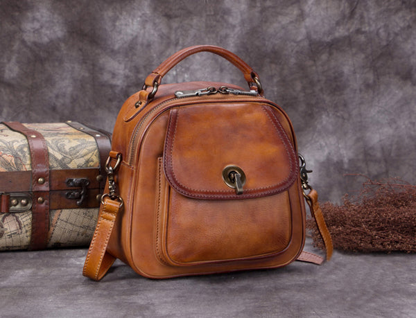 Full Grain Leather Satchel Bags, Laptop Shoulder Bag, Women Handbag A0259 - ROCKCOWLEATHERSTUDIO
