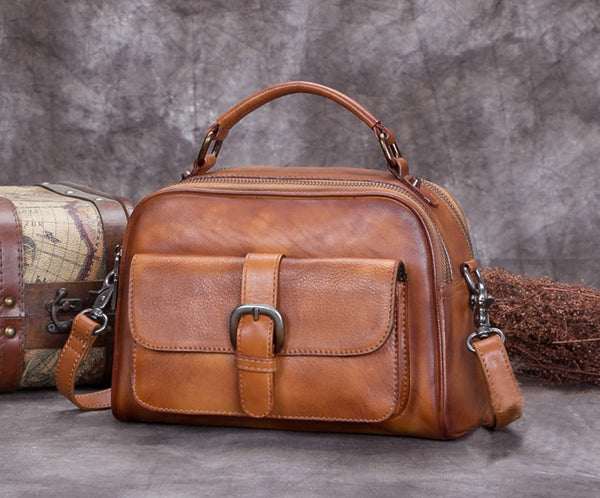 Full Grain Leather Satchel Bags, Laptop Shoulder Bag, Women Handbag A0267 - ROCKCOWLEATHERSTUDIO