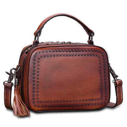 Fashion Full Grain Leather Messenger Shoulder Bags Satchel Bags Leather Tote A0284 - ROCKCOWLEATHERSTUDIO