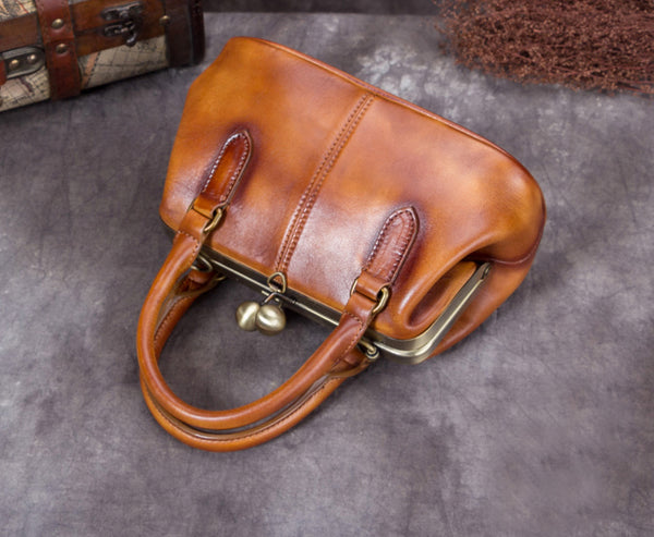 Full Grain Leather Shoulder Bag, Designer Handbag For Women A0226 - ROCKCOWLEATHERSTUDIO