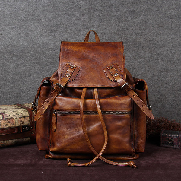 Handmade Full Grain Leather Backpack, Vintage Travel Shoulder Bag A0081 - ROCKCOWLEATHERSTUDIO