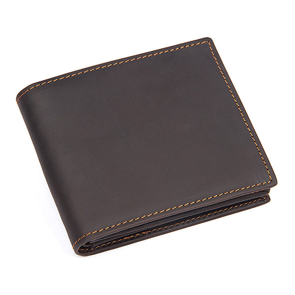 Handmade  Leather Wallet, Wallet Cryptocurrency Wallet Rfid Man Short Wallet 8054 - ROCKCOWLEATHERSTUDIO