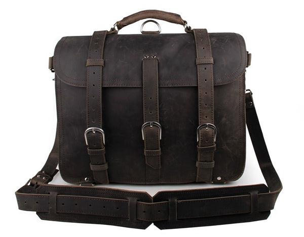 Large Leather Travel Bag, Leather Laptop Bags For Men, Best Briefcases For Men, Leather Holdall Bags 7072