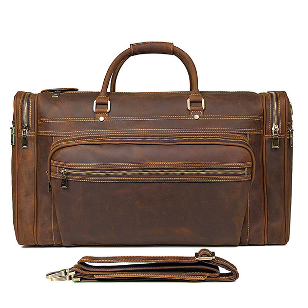 Handmade Full Grain Leather Mens Duffle Bag Chloe Handbags Handbag Brands 7317 - ROCKCOWLEATHERSTUDIO