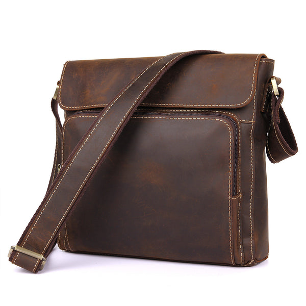 Leather Messenger Bag For Men Waterproof Messenger Bag 7051 - ROCKCOWLEATHERSTUDIO