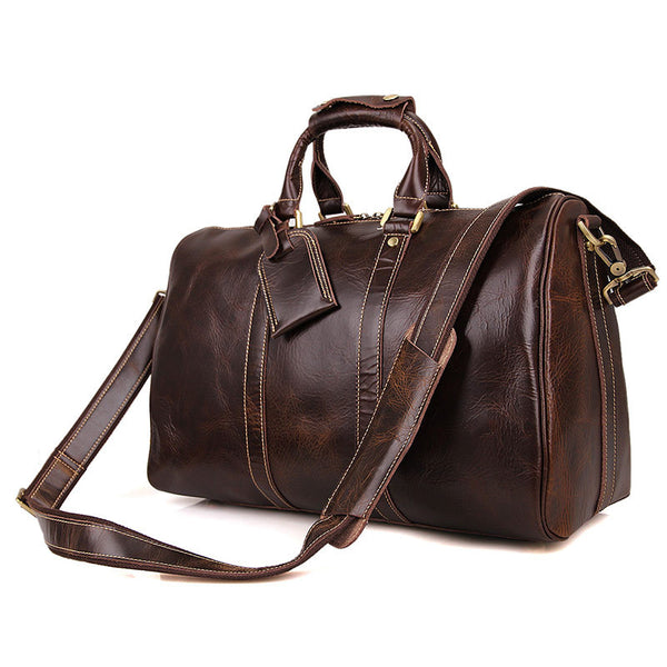 Leather Shoulder Bag Mens Leather Travel Bag Business Travel Luggage Bag 7077 - ROCKCOWLEATHERSTUDIO