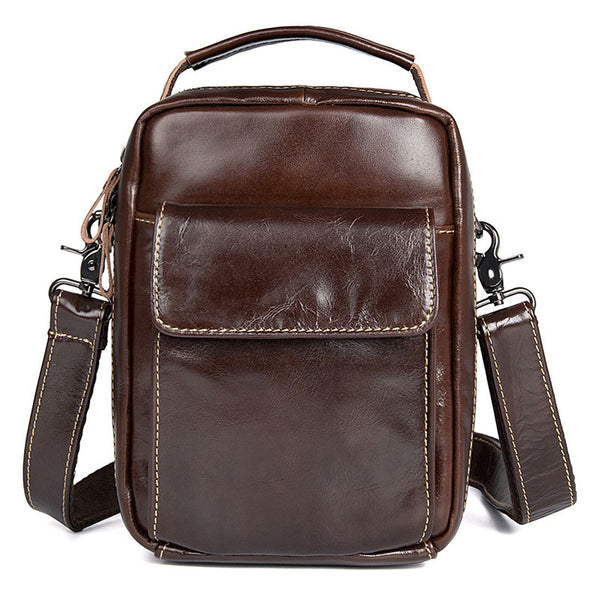 Cross Bag For Man, Mens Leather Satchel Bag Mens Work Bags Mini Messenger Bag 1027 - ROCKCOWLEATHERSTUDIO
