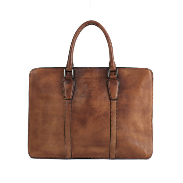 Flash Sale Vintage Full Grain Leather Briefcase, Laptop Bag, Men's Handbag NZ02 - ROCKCOWLEATHERSTUDIO