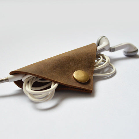 Handmade Genuine Natural Leather Earphone Holder, Earphone Organizer, Cable Keeper D08 - ROCKCOWLEATHERSTUDIO