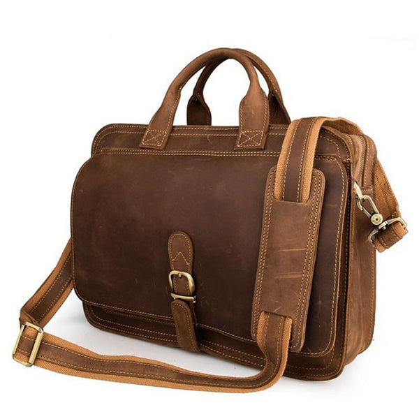 Men's Handmade Leather Briefcase Messenger Laptop Bag Men's Handbag For Christmas Gift 6020 - ROCKCOWLEATHERSTUDIO