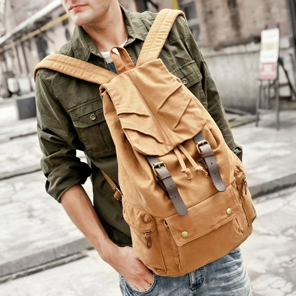 ROCKCOW Multi-Pocket Hiking Military Rucksack with Leather Accents on Brown 1005 - ROCKCOWLEATHERSTUDIO