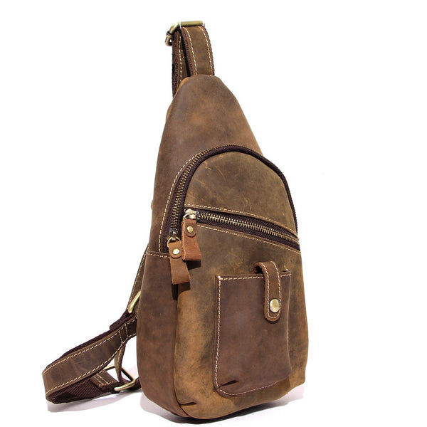 ... Top Grain Leather Travel Hiking Single Strap Shoulder Backpack Sling Bag  8886 - ROCKCOWLEATHERSTUDIO ... adfbbc14537d