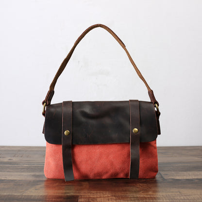Fashion Canvas Leather Shopping Bag, Messenger Bag, Briefcase YD6633 - ROCKCOWLEATHERSTUDIO