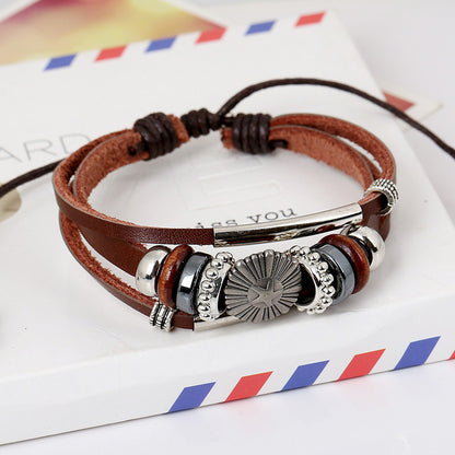 ROCKCOW Mens Vintage Leather Wrist Band Brown Rope Bracelet Bangle YY-PK001 - ROCKCOWLEATHERSTUDIO