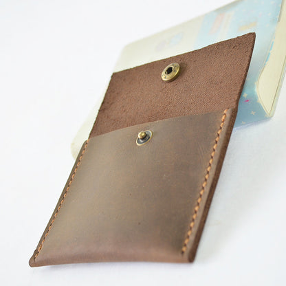 Handmade Genuine Natural Leather Coin Holder, Leather Coin Organizer, Leather Coin Purse B10 - ROCKCOWLEATHERSTUDIO