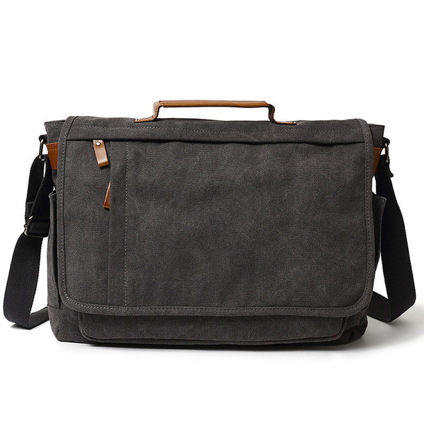 Big Capacity Canvas Messenger Bag Vintage Crossbody Shoulder Bag Laptop Bag 6242 - ROCKCOWLEATHERSTUDIO