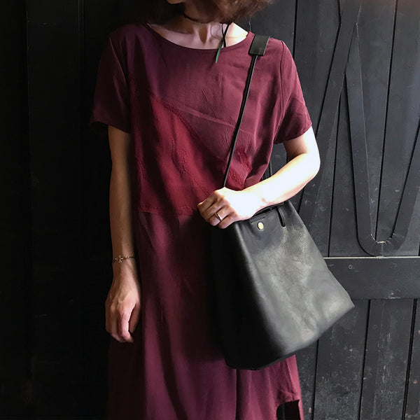 New Arrival Women Bucket Bag Full Grain Leather Shoulder Bag Handmade Messenger Bag BF0016