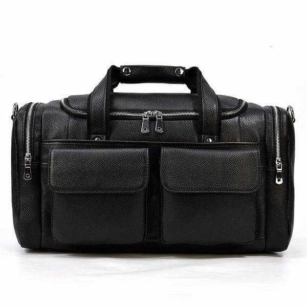 Full Grain Leather Large Travel Bag Big Capacity Cowhide Duffle Bag Mens Shoulder Weekender Bags LF3839