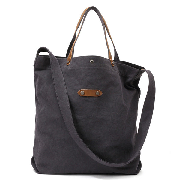 Shopping Canvas Top Grain Leather Tote Bag, Women Shoulder Bags, Vintage Casual Daily Handbag 8829