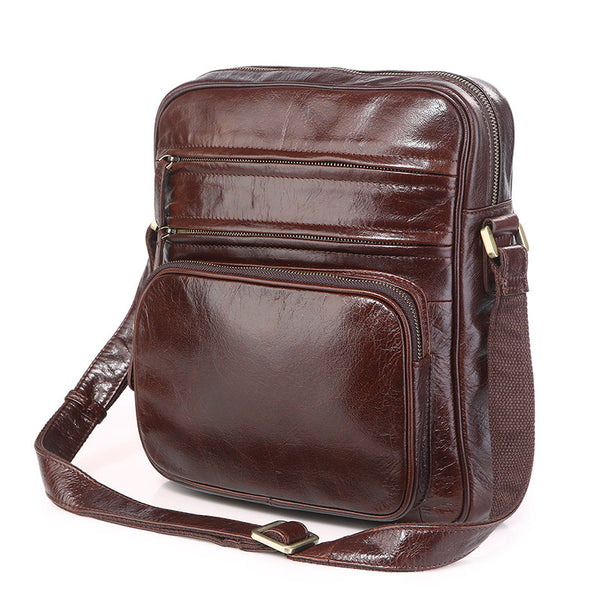 New Fashion Messenger Bags Casual Leather Bags For Men Leather Messenger Corssbody Side Shoulder Bag 7337 - ROCKCOWLEATHERSTUDIO