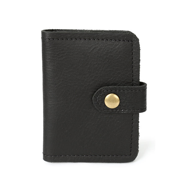 Retro Card Holder Men Short Wallet Handmade Full Grain Leather Small Wallet YD1043 - ROCKCOWLEATHERSTUDIO