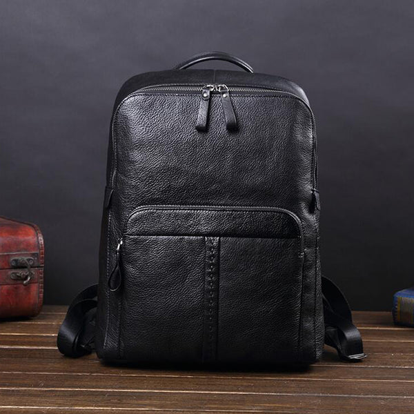 Full Grain Leather Retro Backpack Travel Backpack Laptop Backpack V181247 - ROCKCOWLEATHERSTUDIO