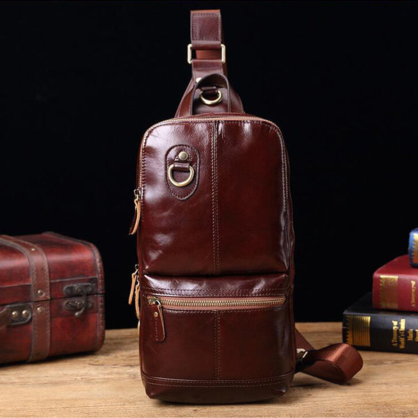 Men Outdoor Messenger Bag Full Grain Leather Chest Pack Retro Shoulder Bag V180517