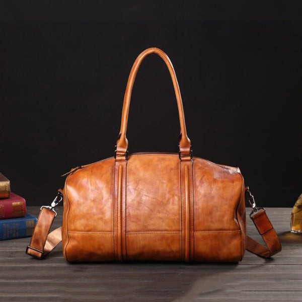 Men Large Capacity Tote Travel Bag Full Grain Leather Shoulder Bag Retro Messenger Bag V180189