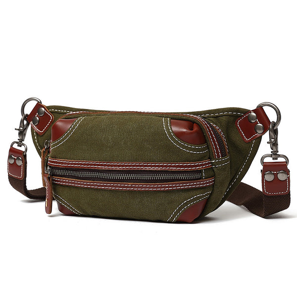 New Design Canvas Leather Men's Wallet Waist Bag, Casual Small Fanny Pack, Canvas Weekender Belt Bag for Men 6090 - ROCKCOWLEATHERSTUDIO